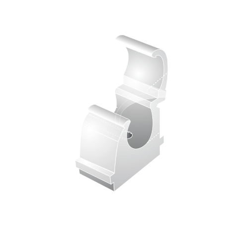15mm Plastic Hinged Snap Over Pipe Clips